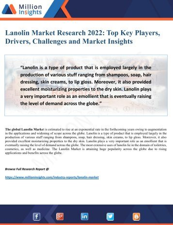 Lanolin Market Feature Outlook, Demands and Growth Rate