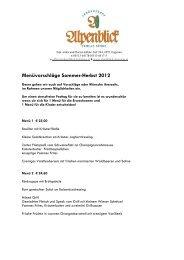 Menüvorschläge Sommer-Herbst 2012