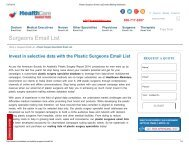 Plastic Surgeons Email Database - Healthcare Marketers