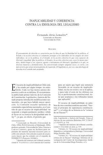 inaplicabilidad y coherencia - Revistas Electrónicas UACh