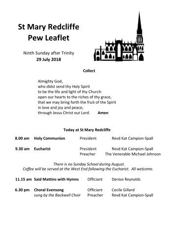 St Mary Redcliffe Church Pew Leaflet - July 29 2018