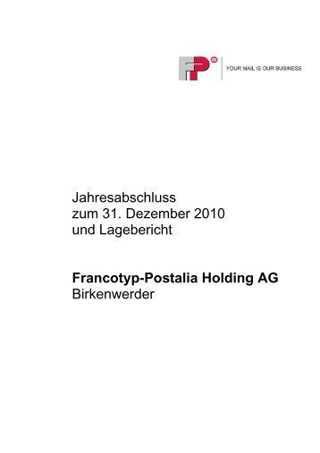 Versicherung der gesetzlichen Vertreter (Bilanzeid) - Francotyp