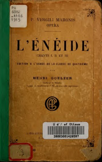 L'Enéide : (Chants 1, 2 et 3) ; édition à l'usage de la classe de 4e
