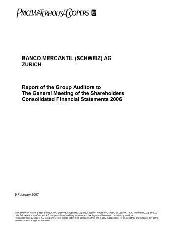 BANCO MERCANTIL (SCHWEIZ) AG ZURICH Report of the Group ...