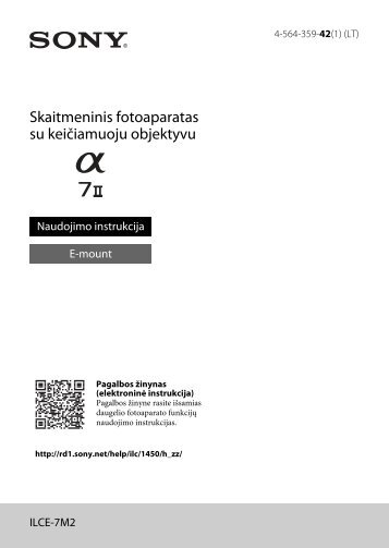 Sony ILCE-7M2K - ILCE-7M2K Mode d'emploi Lituanien