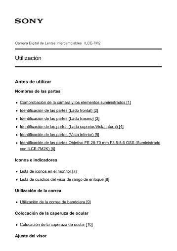Sony ILCE-7M2K - ILCE-7M2K Manuel d'aide Espagnol