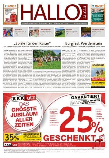 Hallo-Allgäu Kempten, Oberallgäu, Westallgäu vom Samstag, 28.Juli