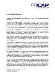 PRESSEMITTEILUNG - PRICAP Venture Partners AG