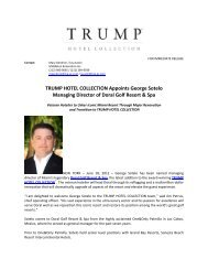 TRUMP HOTEL COLLECTION Appoints George Sotelo Managing ...