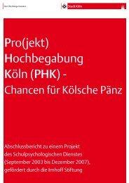 Pro(jekt) Hochbegabung Köln (PHK) – Chancen für Kölsche Pänz