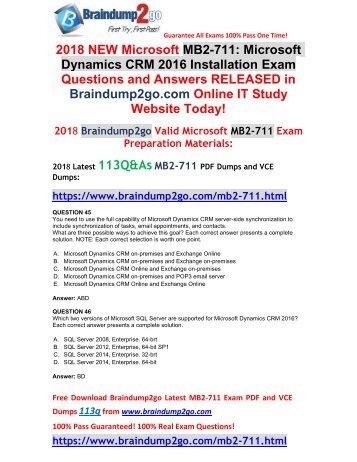 [2018-July-Version]Braindump2go MB2-711 PDF and MB2-711 VCE Dumps 113Q&As Free Share(45-55)