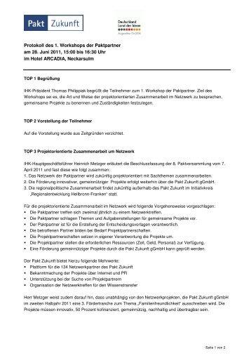 Protokoll Workshop - Pakt Zukunft