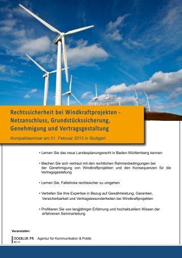Rechtssicherheit bei Windkraftprojekten ... - Doebler PR