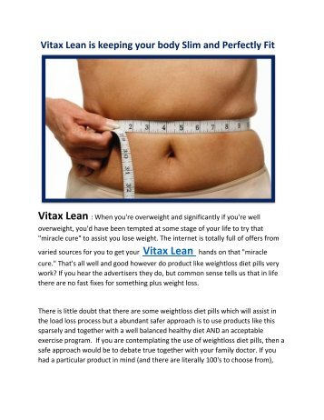 Vitax Lean is keeping your body Slim and Perfectly Fit