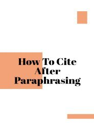 How to Cite After Paraphrasing