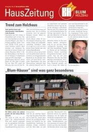 """Trend zum Holzhaus """"Blum-Häuser"""" sind was ganz besonderes"""