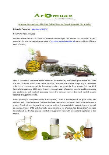 Aromaaz International: The Only Online Store for Organic Essential Oils in India