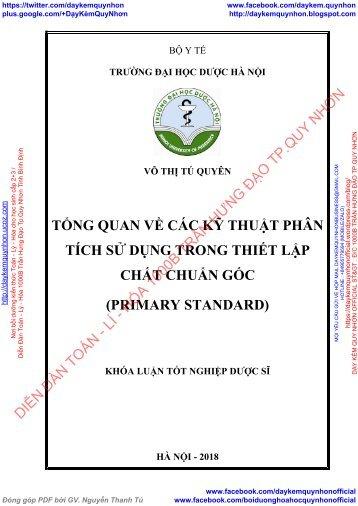 Tổng quan về các kỹ thuật phân tích sử dụng trong thiết lập chất chuẩn gốc (primary standard)