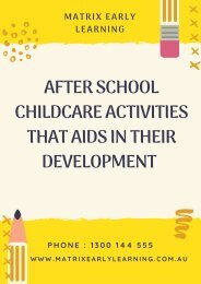 After School Childcare Activities That Aids in Their Development
