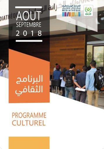Programme Culturel  Août-Septembre 2018