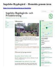 Ingelsbo Bygdegård Hemsida genom åren