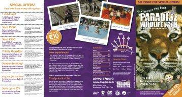 Paradise Wildlife Park Leaflet tourism leaflet - Tourismleafletsonline ...
