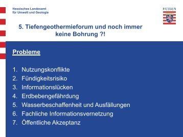 5. Tiefengeothermieforum und noch immer keine Bohrung ?! Probleme
