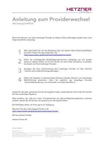 KK-Antrag für .at Domains - Hetzner Online AG