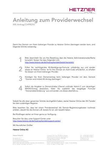 KK-Antrag für .eu, .com und .net Domains - Hetzner Online AG