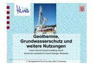 Geothermie, Grundwasserschutz und weitere Nutzungen