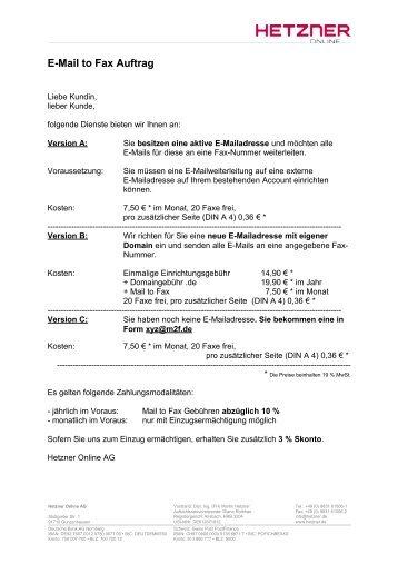 E-Mail to Fax Auftrag - Hetzner Online AG