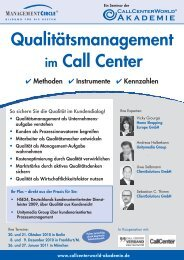 Seminar: Qualitätsmanagement im Call Center ... - CallCenterWorld