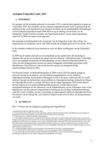 Actieplan Erfgoedcel Aalst 2011