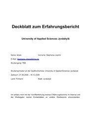 Deckblatt zum Erfahrungsbericht University of Applied Sciences ...