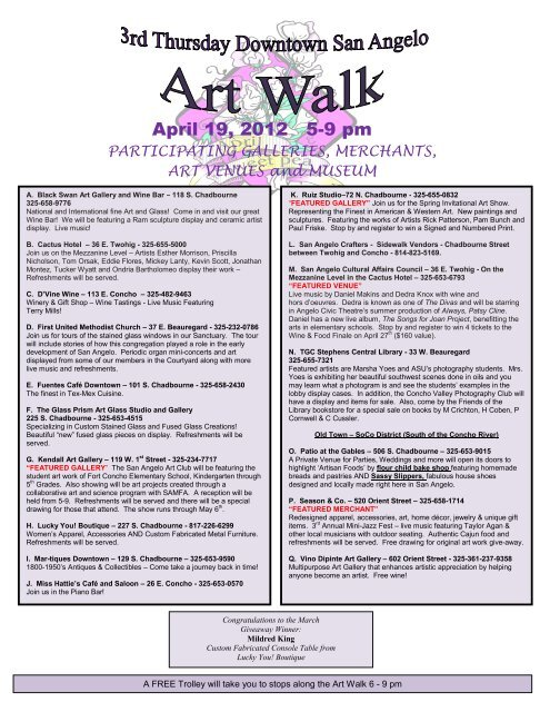 Download the Art Walk Map at - Downtown San Angelo