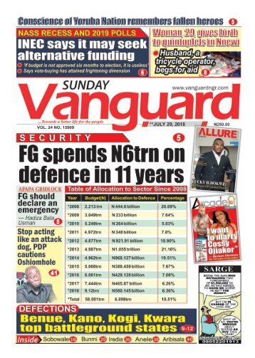 29072018 - SECURITY: FG Spends N6trn on defence in 11 years