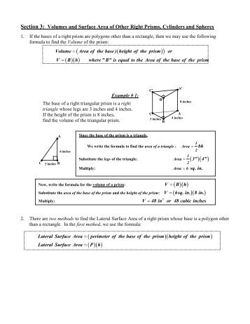 Section 3: Volumes and Surface Area of Other ... - Willets Geometry