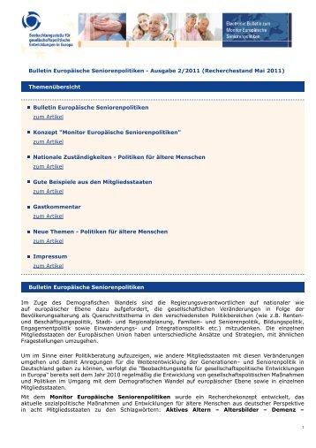 Bulletin Europäische Seniorenpolitiken - Beobachtungsstelle für ...