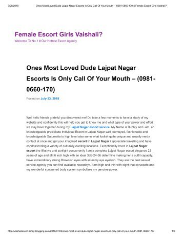 Ones Most Loved Dude Lajpat Nagar Escorts Is Only Call Of Your Mouth – (0981-0660-170) _ Female Escort Girls Vaishali_