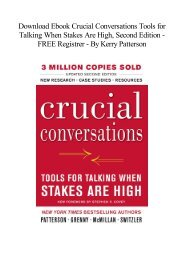 [Free] Download Crucial Conversations Tools for Talking When Stakes Are High, Second Edition   Unlimed acces book  BY Kerry Patterson