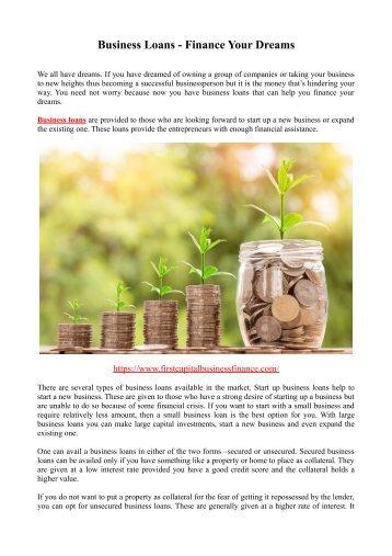 Business Loans - Finance Your Dreams