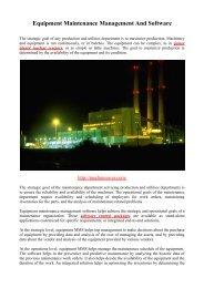 Equipment Maintenance Management And Software