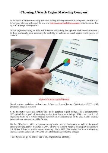Choosing A Search Engine Marketing Company