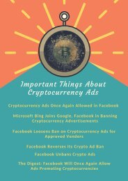 Important Things About Cryptocurrency Ads