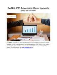 Avail Link BPO's Outsource and Offshore Solutions to Grow Your Business