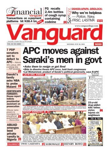 30072018 - APC moves against Saraki's men in govt