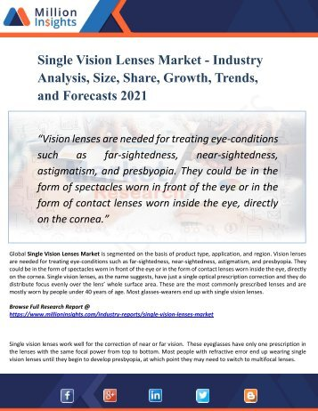 Single Vision Lenses Market Segmented by Material, Type, End-User Industry and Geography – Trends and Forecasts 2021