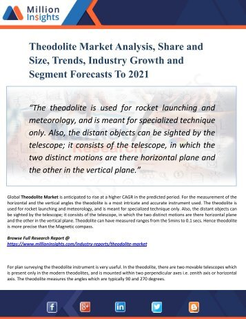 Theodolite Market Segmented by Material, Type, Application, and Geography - Growth, Trends and Forecast 2021