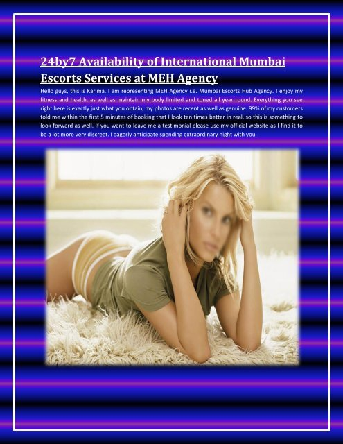 24by7 Availability of International Mumbai Escorts Services at MEH Agency
