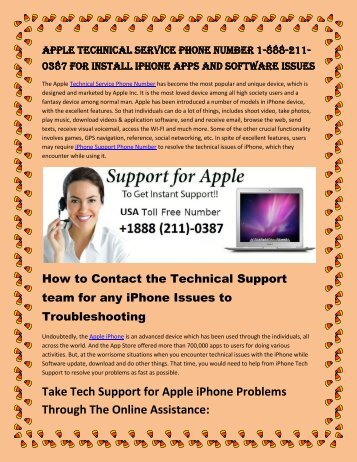Dial +1888-211-0387 Apple Technical Service Phone Number